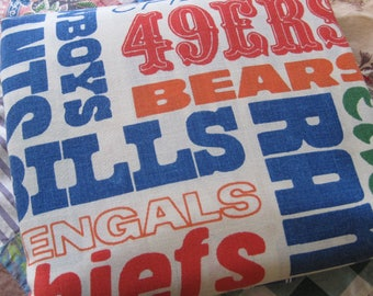 Vintage Bibb NFL Football Bed Sheet Twin Size Flat 66 by 104