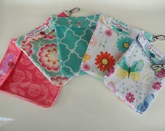 Inhaler, Epi Pen (Auvi Q / Allerject) or Ouch Pouch Clear Front W/ Clip Holds Asthma Puffer or Square Injector 4x5 Your Choice Floral Fabric