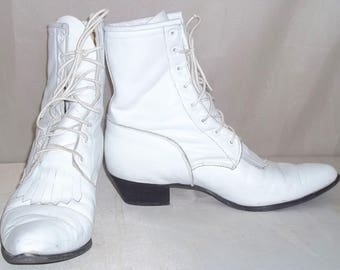Vintage Women's Lace Up Short Ankle White Leather Cowboy Boots 8 M Western