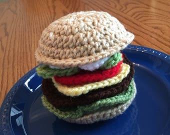 Crochet Cheeseburger Play Food