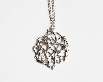 Lace pendant necklace silver – birthday present – anniversary gift - Valentines gift