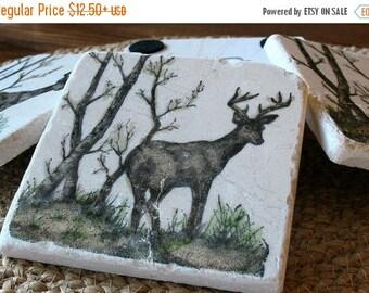 XMASINJULYSale Rustic Decor - Deer Absorbent Tile Coasters - Northwoods Cabin - Hunter Gift