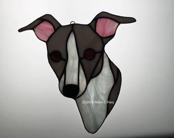 Italian Greyhound Suncatcher in Stained Glass