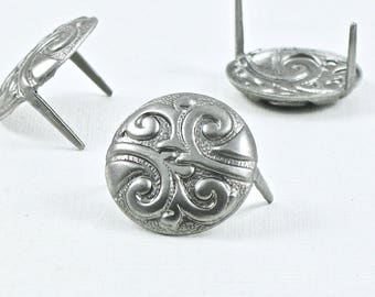 12 gun metal CONCHO prong stud nailhead for leather crafts. raw steel pieces. (S402) Made in the US
