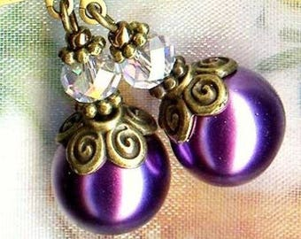 Earrings LAVENDER PEARL Crystal vintage bronze OR6867 ❀ ❀