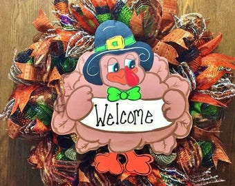 SALE & FREE SHIPPING Fall Thanksgiving Turkey - Welcome Door Wreath