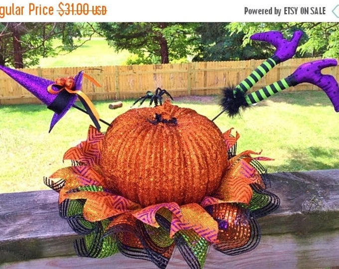 SALE- Glitter Pumpkin Witch Hat Legs - Fall Halloween Centerpiece