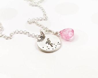 Pink Flamingo Necklace - Pink Topaz Jewelry - Sassy Bird Jewelry - Pink Topaz Necklace - Summer Flamingo Necklace - Silver Stamped Necklace
