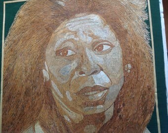 Whoppie Goldgerg portrait handmade with dried leaves of rice plant. Hollywood movie star, VIEW anchor. Collectible leaf art. Museum piece