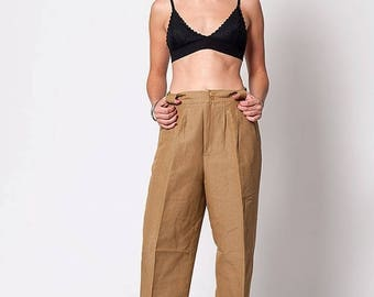 40% OFF CLEARANCE SALE The Vintage High Waisted Tan Trouser Pants