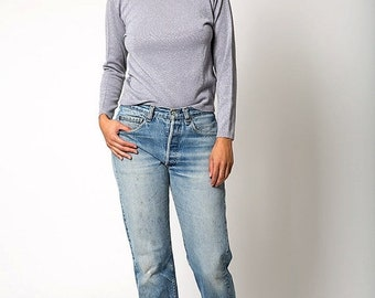 40% OFF The Silver Metallic Lurex Vintage Pendleton Turtleneck Sweater
