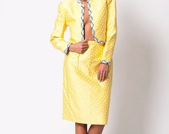 40% OFF The Vintage Carolina Herrera Yellow Polka Dot Two Piece Suit Set