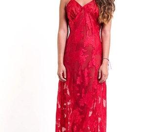 40% OFF The Red Pretty Woman Slip Dress