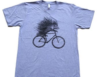 SUMMER SALE Porcupine on a Bicycle - Mens T Shirt, Unisex Tee, Cotton Tee, Handmade graphic tee, Bicycle shirt, Bike Tee, sizes xs-xxl