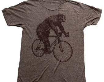 SUMMER SALE Sloth on a Bicycle - Mens T Shirt, Unisex Tee, Tri Blend Tee, Handmade graphic tee, sizes xs-xxl