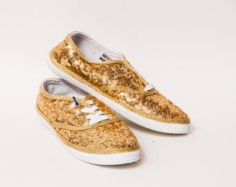 Ready 2 Ship - Size 6.5 WMNS Honey Gold Sequin Canvas Sneakers Shoes