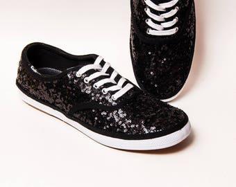 Mens - Sequin - Black Keds Sneaker Canvas Tennis Shoes