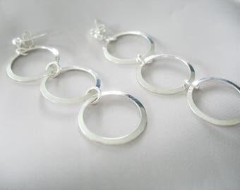 Triple Ring Dangle Earrings, Silver Rings, Long Drop Earrings, Modern Style, Ball Posts, Pierced Ears, Handmade Jewelry