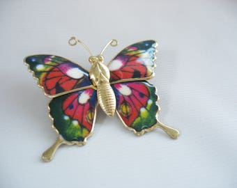 Butterfly Brooch Colorful Enamel Brass 1960s Pin Pink Red Green Yellow White Gold