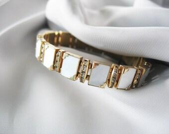 MOP and Rhinestone Panel Bracelet, Rectangles, Gold Plated, 1960s, White Panels, Link Bracelet, Sliding Box Clasp, Photo Album Corners