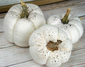 RESERVED - Fabric Pumpkin Set of 5 White Pumpkins with real stems
