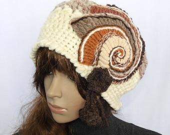 Crochet Beanie, Chunky Beige women's winter hat, Hand Spun Wool Crochet Beanie, Hat, beanie with Crochet Spiral Motif