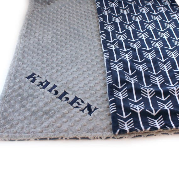 Personalized Baby Blanket / Arrow Minky Baby Blanket Boy, Silver Gray Navy Arrow Baby Blanket // Soft Baby Blanket // Baby Shower Gift