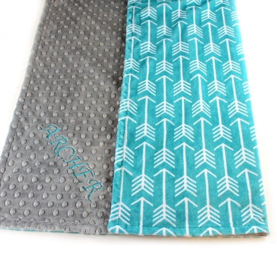 Teal Arrow Toddler Blanket, 48 x 60 in Personalized Blanket, Kids Minky Blanket Boy, Minky Throw Blanket, Teal Gray Arrow Blanket