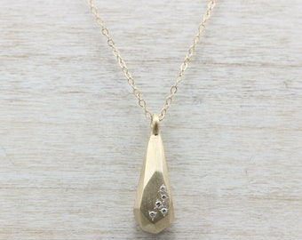 Faceted Scatter Diamond Pendant Necklace - Recycled Diamonds or Black Spinel & Matte 14k Yellow Gold - Made to Order Fine Jewelry