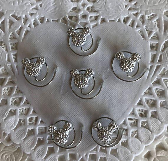 Mickey MOUSE EARS Hair Swirls-Disney Wedding-Cinderella Gift- Hair Coils-Silver Hidden Mickeys-Disney Trip (Qty 6)
