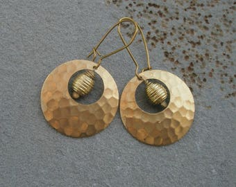 Hammered Brass Round Earrings