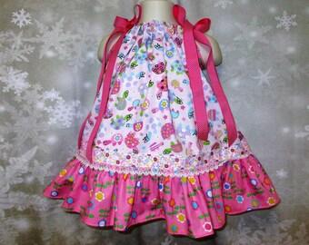 Baby Girl Dress 12M-18M Pink Flower Turtles Floral Pillowcase Dress, Pillow Case Dress, Sundress, Boutique Dress