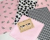 Lot de tissu vache, rose, noir, vaches, tissu, boutons de vache, destockage, Cowprint