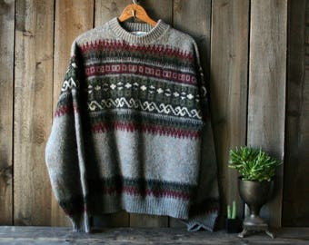 Vintage Wool Crew Neck Sweater Pullover Mens XL Mohair and Virgin Wool Squaw Valley Originals 80s Vintage From Nowvintage on Etsy