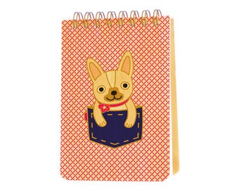 pocket frenchie mini notepad with real birch wood covers - jotter - small notebook - j1939