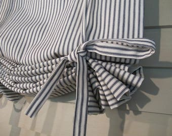 Navy Ticking 36 Inch Long Roll Up Window Shade Reversible Tie Up Rolled Curtain Tie Up Curtain Swag Balloon