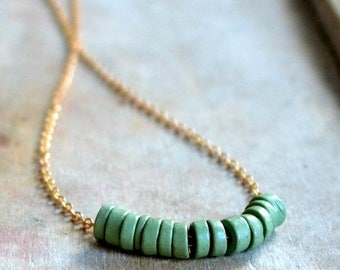 ON SALE Brass necklace, sage green clay beads, choker necklace - Herbal