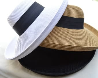 Large Brim Natural , White Or Black Sun Hat / Womens Soft Straw Sun Hat / Resort Hat / Travel Hat / Black , White Or Tan Color Choices