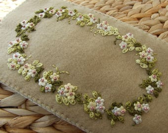 Hand Embroidered RichCoffee Colour Felt Glasses Case