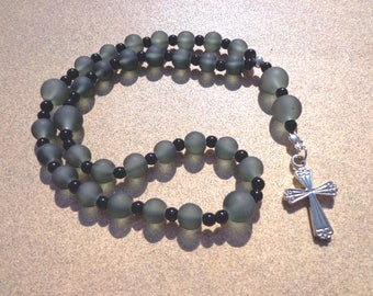 Anglican Episcopal Rosary, Black Frosted Glass Beads with Silver Tone Cross, Protestant Rosary, Christian Gifts, Protestant Prayer Beads