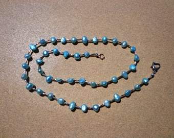 Pearl Necklace, Aqua Blue Freshwater Pearls with Silver Plated Spiral Beads, 21 Inches, Organic Gemstone, Prosperity, Wisdom and Longevity