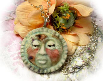 Celestial Sun Necklace -Ceramic Sun Necklace - Sunshine Necklace - Gift for Her- 20 Inch Chain - one of a kind necklace - gift necklace -# 2