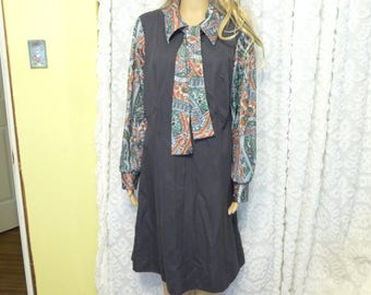 Vintage Lane Bryant Dress, Size 18 half, Vintage Dress, Gray Dress, Long Sleeve Dress, Zipper Front Smock, Vintage Clothing, Paisley Dress