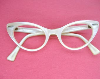 Vintage 1950s Pearl Cat eye Glasses Frame