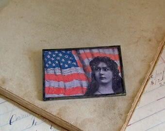 Vintage Postcard Pin,  Sale Patriotic Jewelry