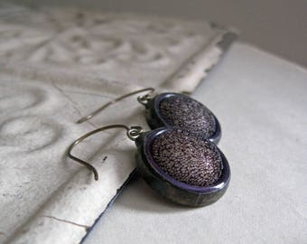 Purple Retro Soldered Button Earrings Recycled Jewelry