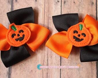 Girls Hair Bows--Orange and Black Pumpkin Bows