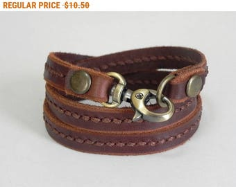 Leather Bracelet Leather Wrap Bracelet with Metal Alloy Clasp Brass Tone Hand Stitched in brown