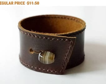 Leather Cuff in Dark Brown color Leather Bracelet Leather Bangle with Agate Button