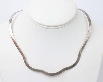 Curved Hammered Silver Plate Collar Necklace Torque Torc Modernist Vintage